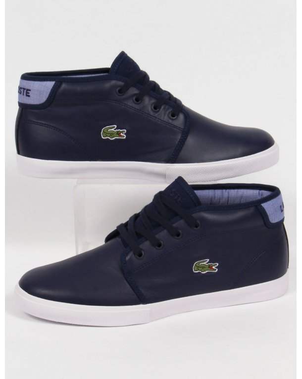 Lacoste Ampthill Leather Trainers Navy Blue