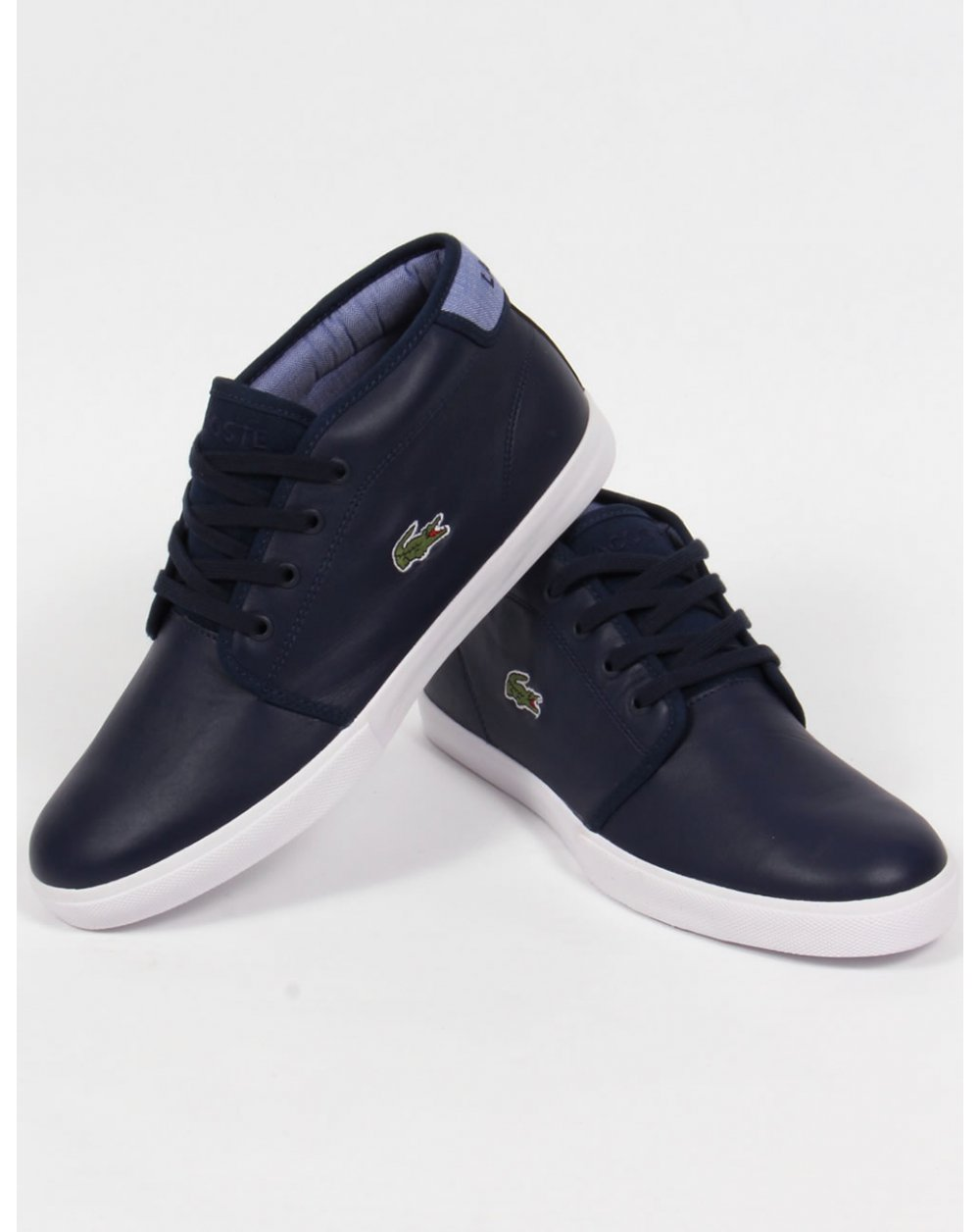lacoste ampthill leather trainers navy bluebootsshoes