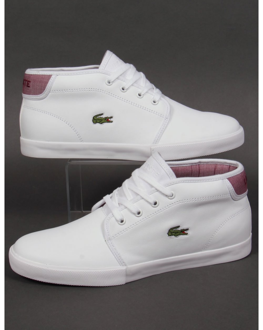 3e3450bf01af Lacoste Lacoste Ampthill Leather Trainers White