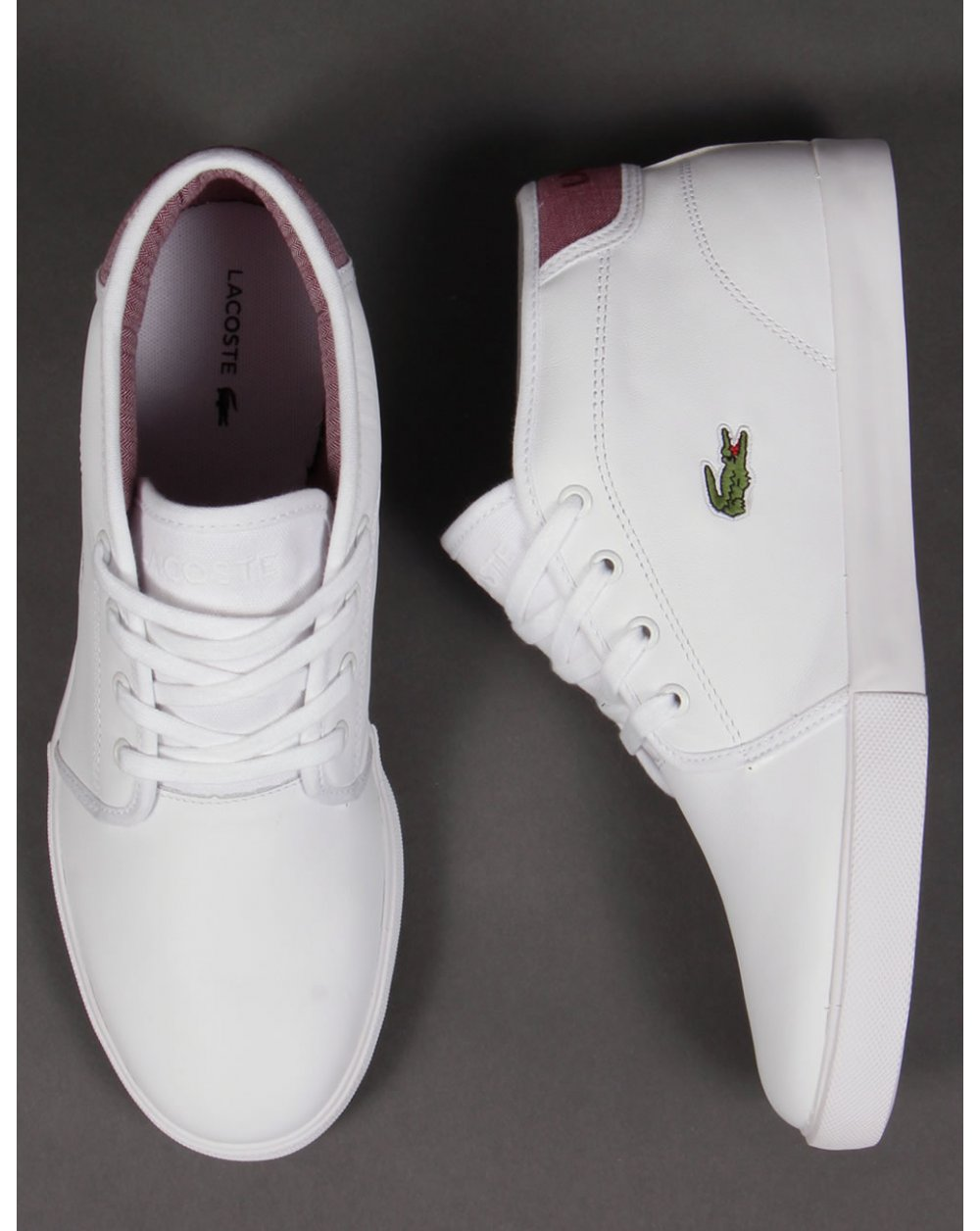 bac4c4df251d09 Lacoste Ampthill Leather Trainers White