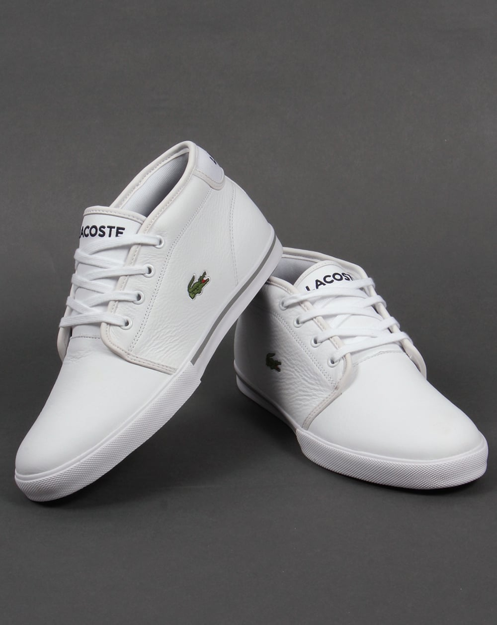 Lacoste Ampthill Leather Trainers White/White,boots,shoes ...