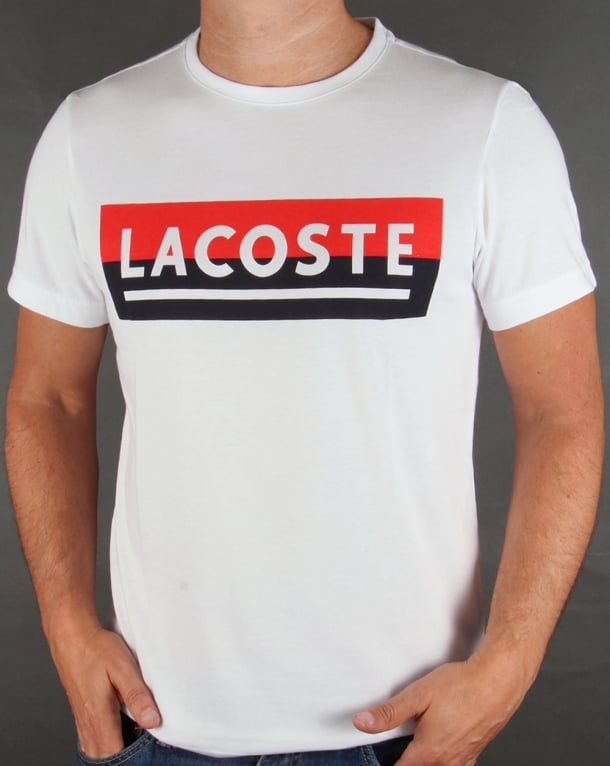 Lacoste Banner Logo T-shirt White/Navy/Red