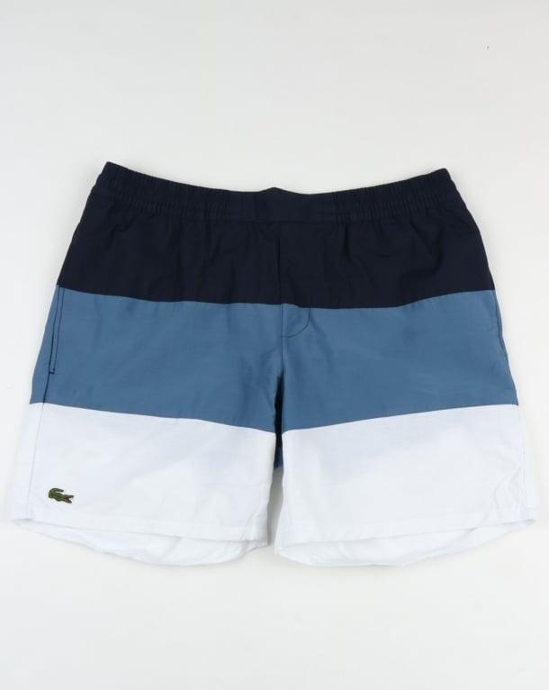 Lacoste Block Stripe Swim Shorts Navy/Blue/White