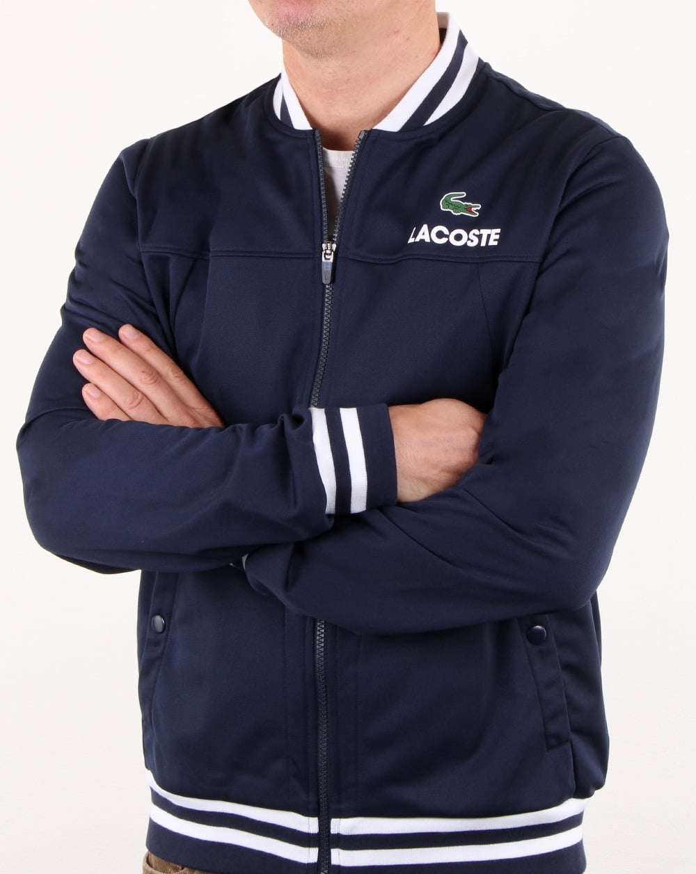 60555dbb0 Lacoste Bomber Poly Track Top Navy/white