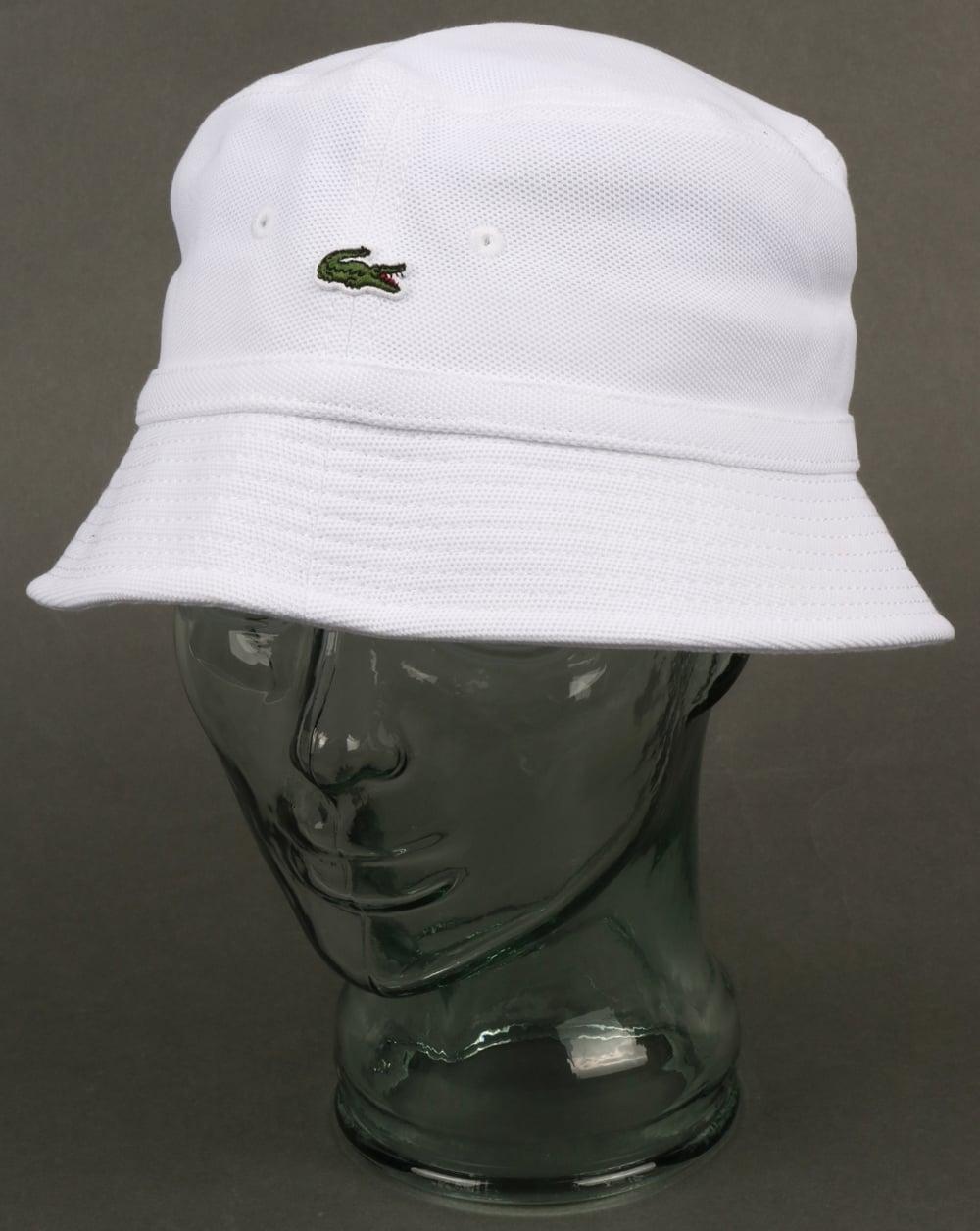 b5e5c2a5b5b102 Lacoste Bucket Hat White,reni,fisherman,80s,sport,cotton