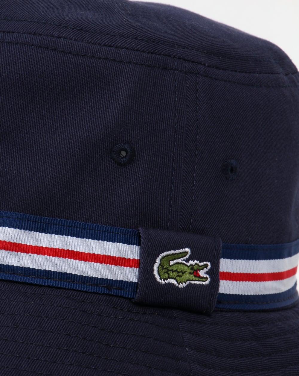 80ba17442597b Lacoste Bucket Sun Hat Navy with trim