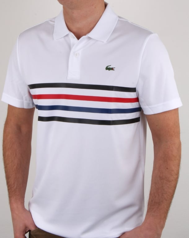 lacoste chest stripe polo shirt white black red mens sport croc. Black Bedroom Furniture Sets. Home Design Ideas