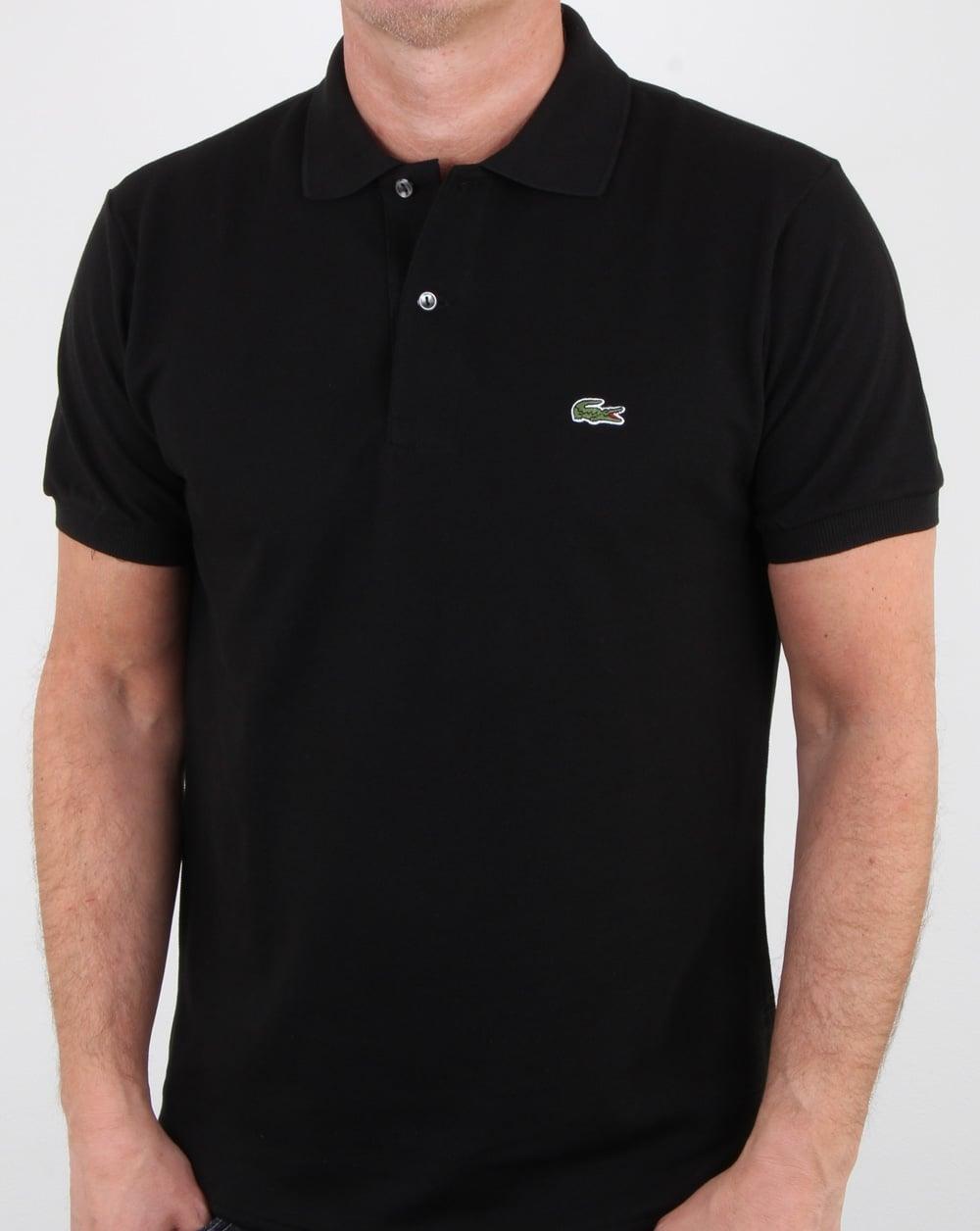 05cfa94c2 Lacoste Classic Two Button Polo Shirt Black, Mens, Cotton, Polo, Croc