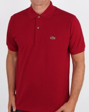 Lacoste Classic Two Button Polo Shirt Bordeaux