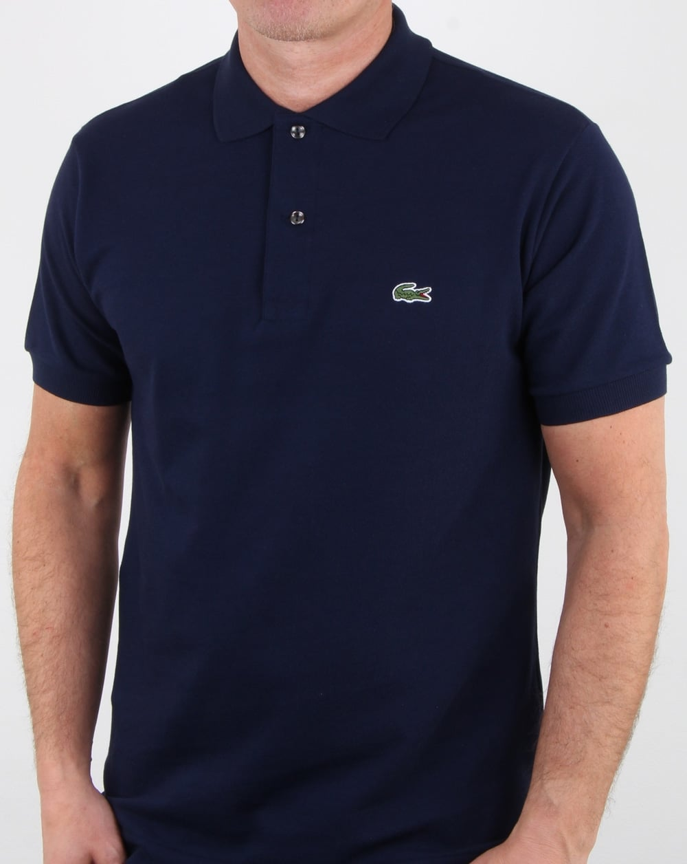 534186433 Lacoste Classic Two Button Polo Shirt Navy