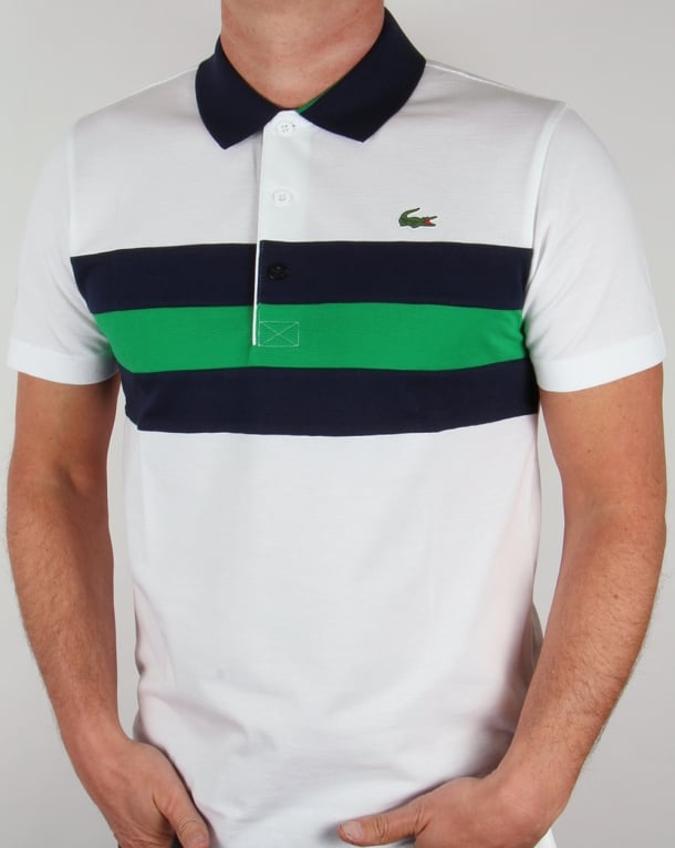 Lacoste Colour Block Tennis Polo Shirt White/Navy/Green