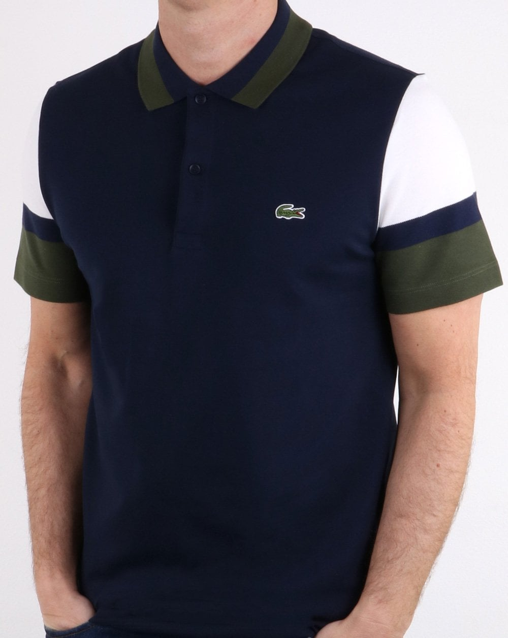 6f169a45 Lacoste Lacoste Colour Sleeve Polo Shirt Navy, White and Green