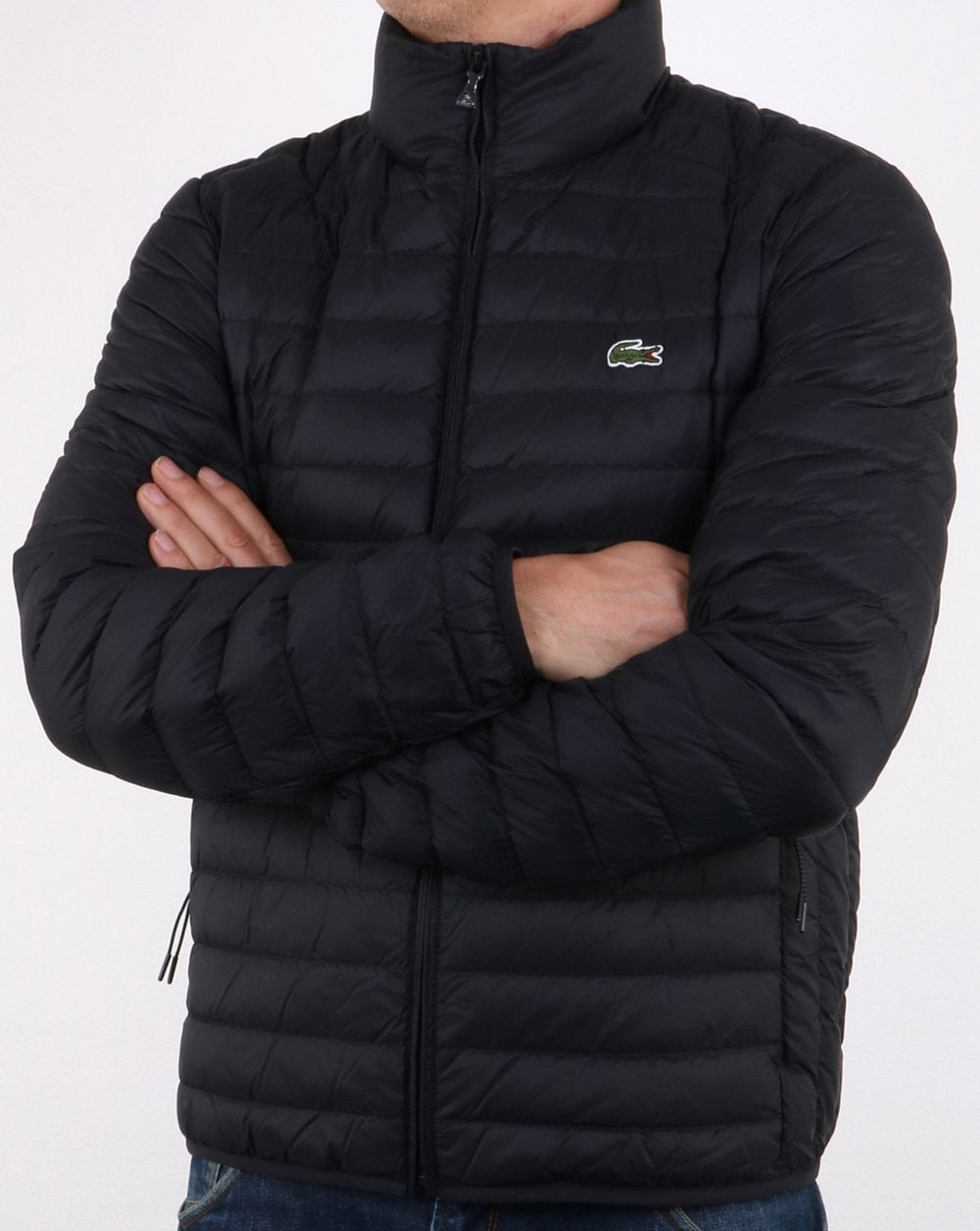 Lacoste Contrast Lining Quilted Jacket Black Winter Coat