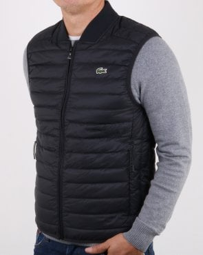 Lacoste Contrast Lining Quilted Vest Black