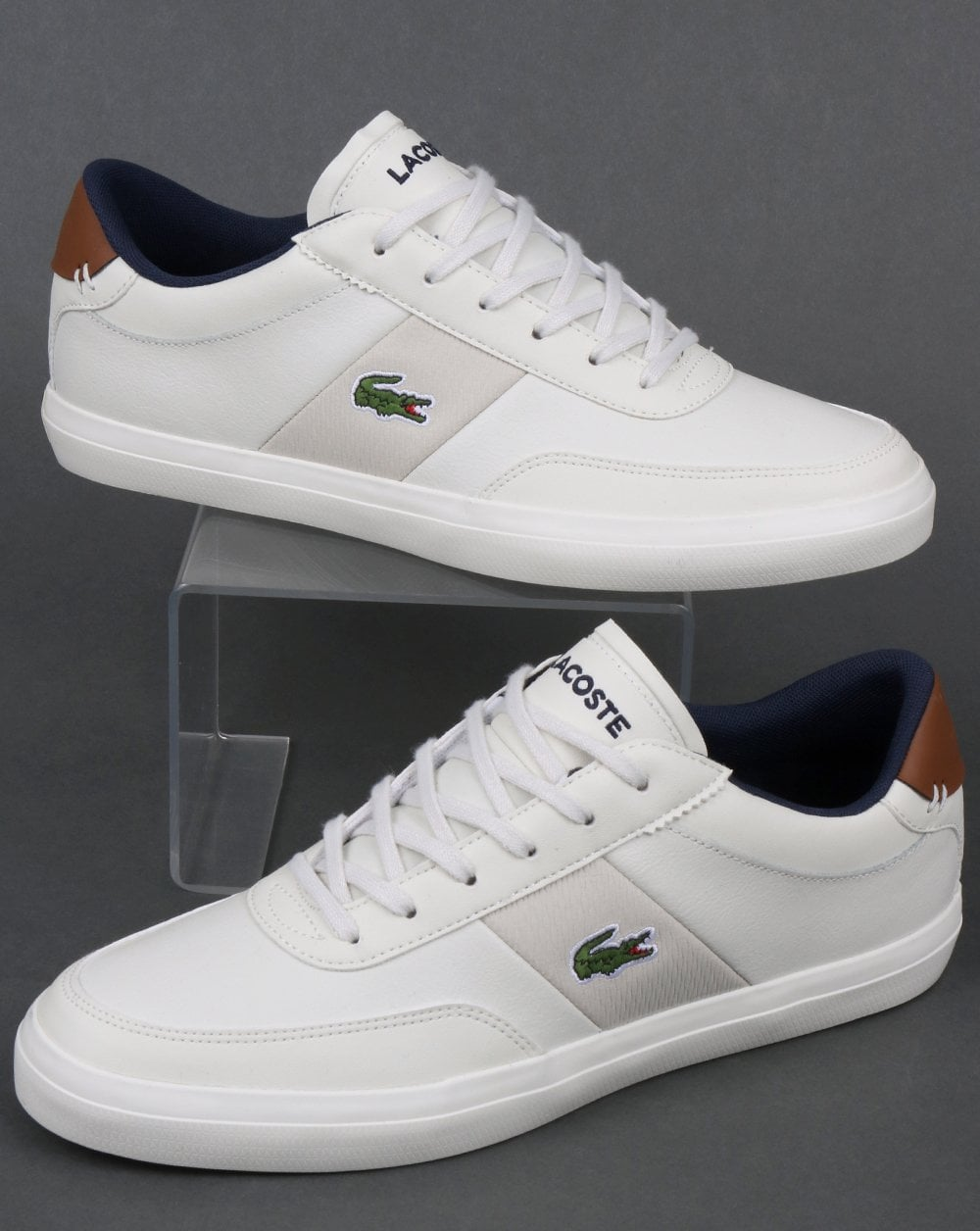 538786586 Lacoste Court Master 318 Trainer Off White/Navy,leather,shoes,summer