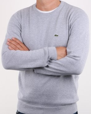 Lacoste Crew Neck Jumper Silver Grey