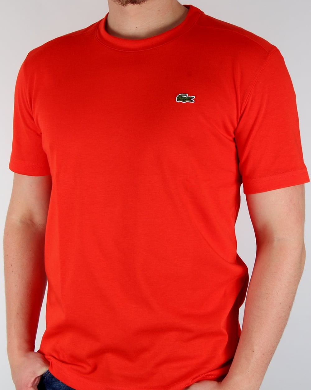 Lacoste Crew Neck T Shirt Corrida Red Tee Crew Neck Sport Mens