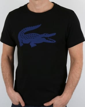 Lacoste Croc Print T Shirt Black/French Blue