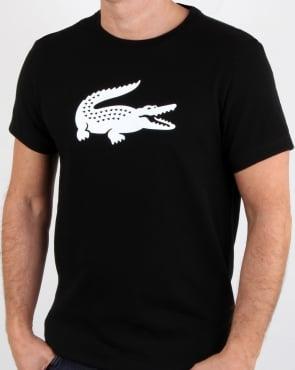 Lacoste Croc Print T Shirt Black/white
