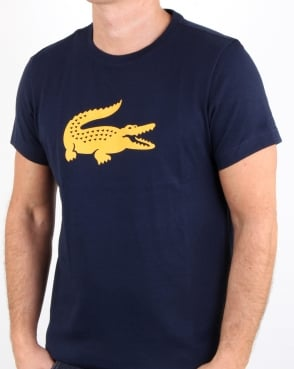 Lacoste Croc Print T Shirt Navy/Yellow