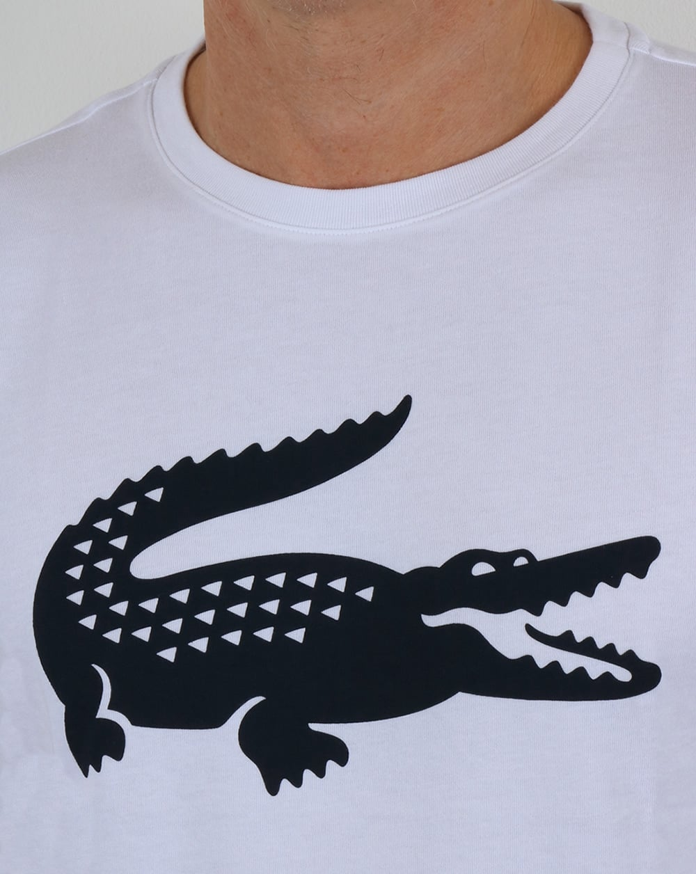 62b400f175fb Lacoste Croc Print T Shirt White/Navy,tee,crew,round,neck,graphic,mens