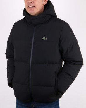 Lacoste Detachable Hood Quilted Water-resistant Jacket Black