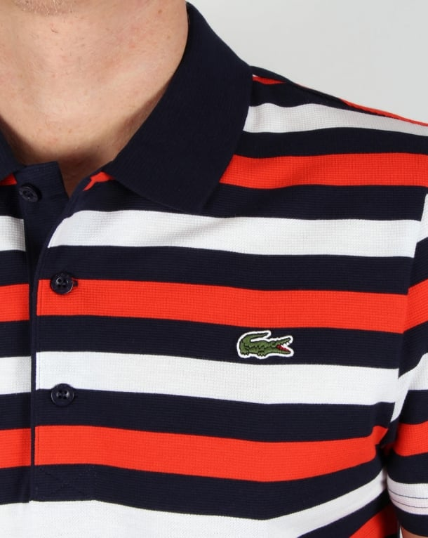 c0a7262a977b3 Lacoste Fine Stripe Polo Shirt Navy red white
