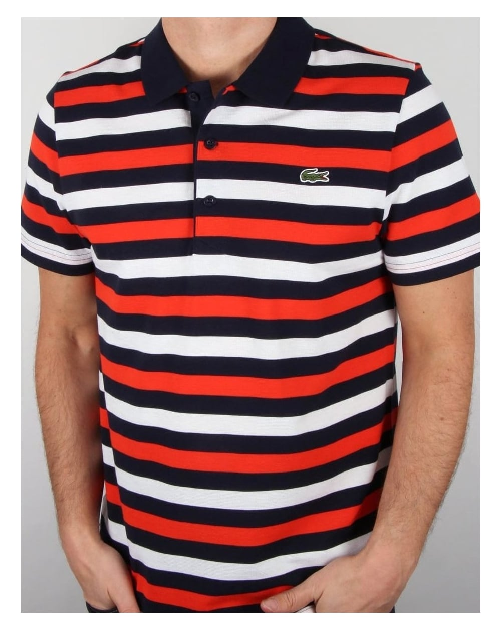 Lacoste fine stripe polo shirt navy red white cotton top mens for Red white striped polo shirt