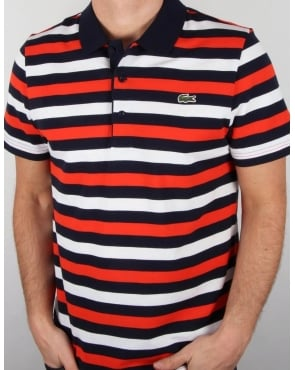 Lacoste Fine Stripe Polo Shirt Navy/red/white