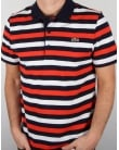 Lacoste Fine Stripe Polo Shirt Navy/red/white