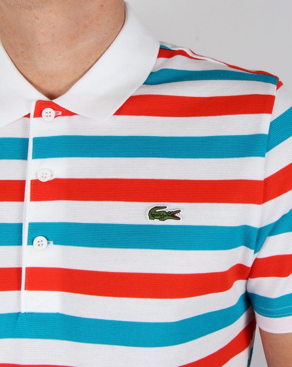 szerokie odmiany tanie z rabatem gorąca sprzedaż online Lacoste Fine Stripe Polo Shirt White/red/blue