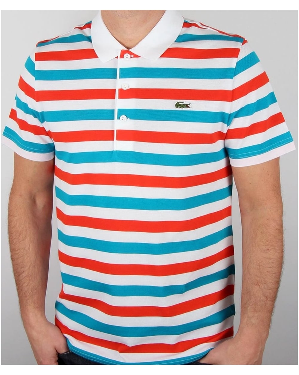 Lacoste fine stripe polo shirt white red blue men 39 s top for Red white striped polo shirt