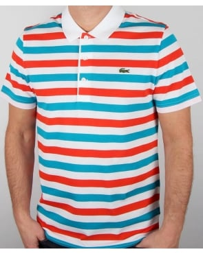 Lacoste multi stripe polo shirt white cantaloupe cotton for Red white striped polo shirt