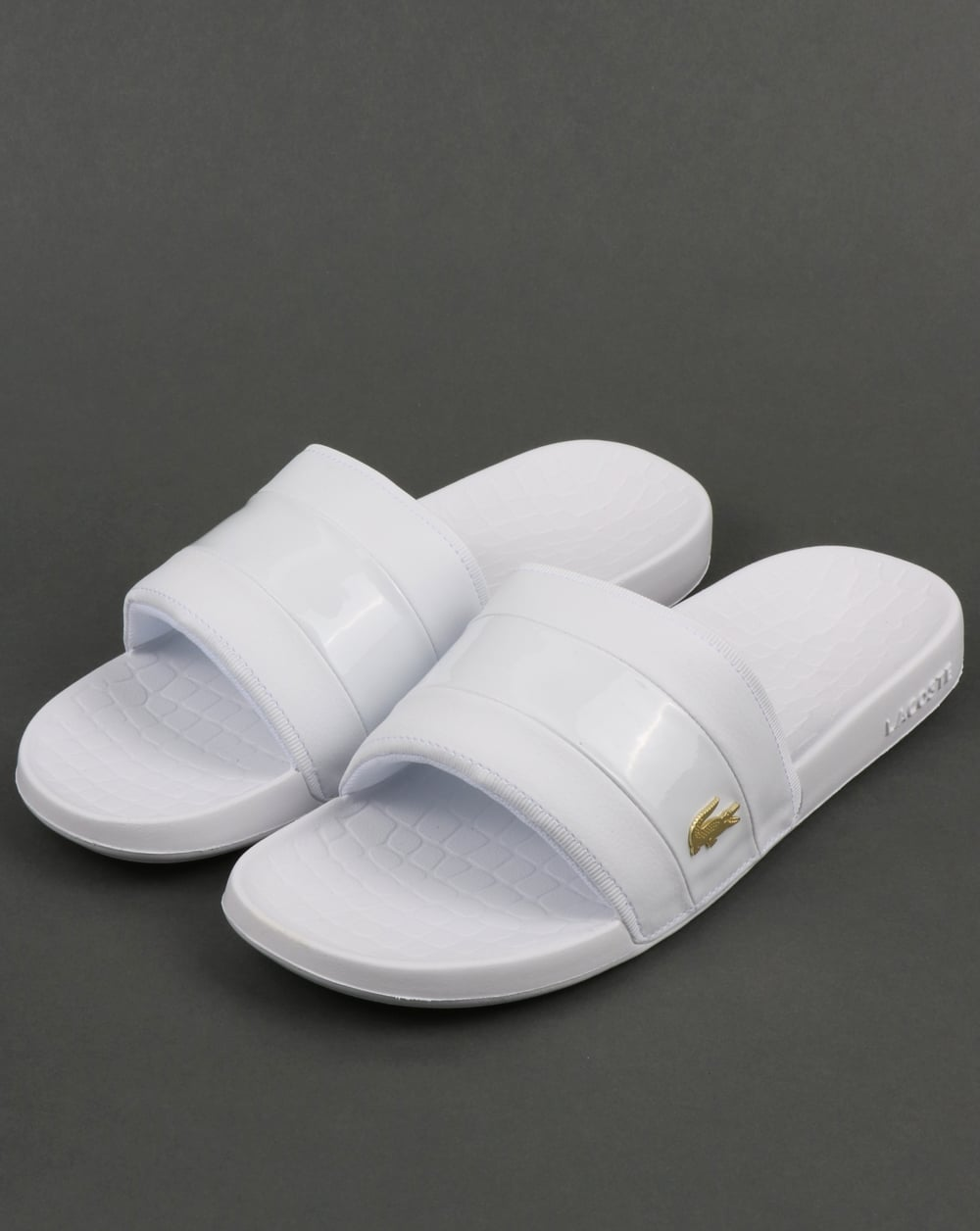 Lacoste Fraisier Sliders White Gold Sliders Flip Flops Sandals
