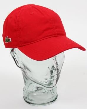 Lacoste Gabardine Baseball Cap Red