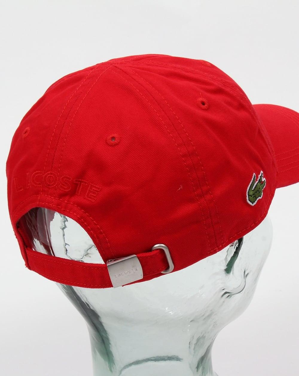 Lacoste Gabardine Baseball Cap Red b448ecc536c