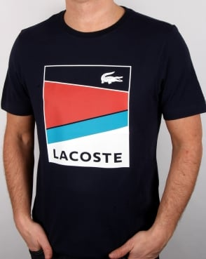 Lacoste Geometric Print T Shirt Navy/Etna Red