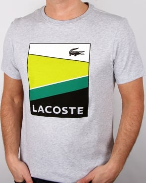 Lacoste Geometric Print T Shirt Silver Chine/white