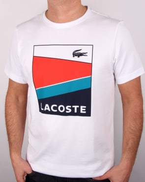 Lacoste Geometric Print T Shirt White/Etna Red