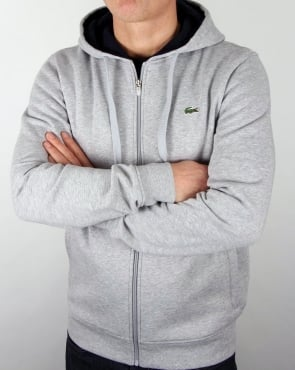 Lacoste Hooded Full Zip Sweat Light Grey/Navy