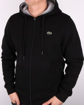 Lacoste Hooded Full Zip Sweatshirt Black/Silver Chine