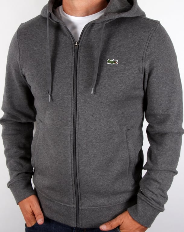 Lacoste Hooded Full Zip Sweatshirt Dark Grey
