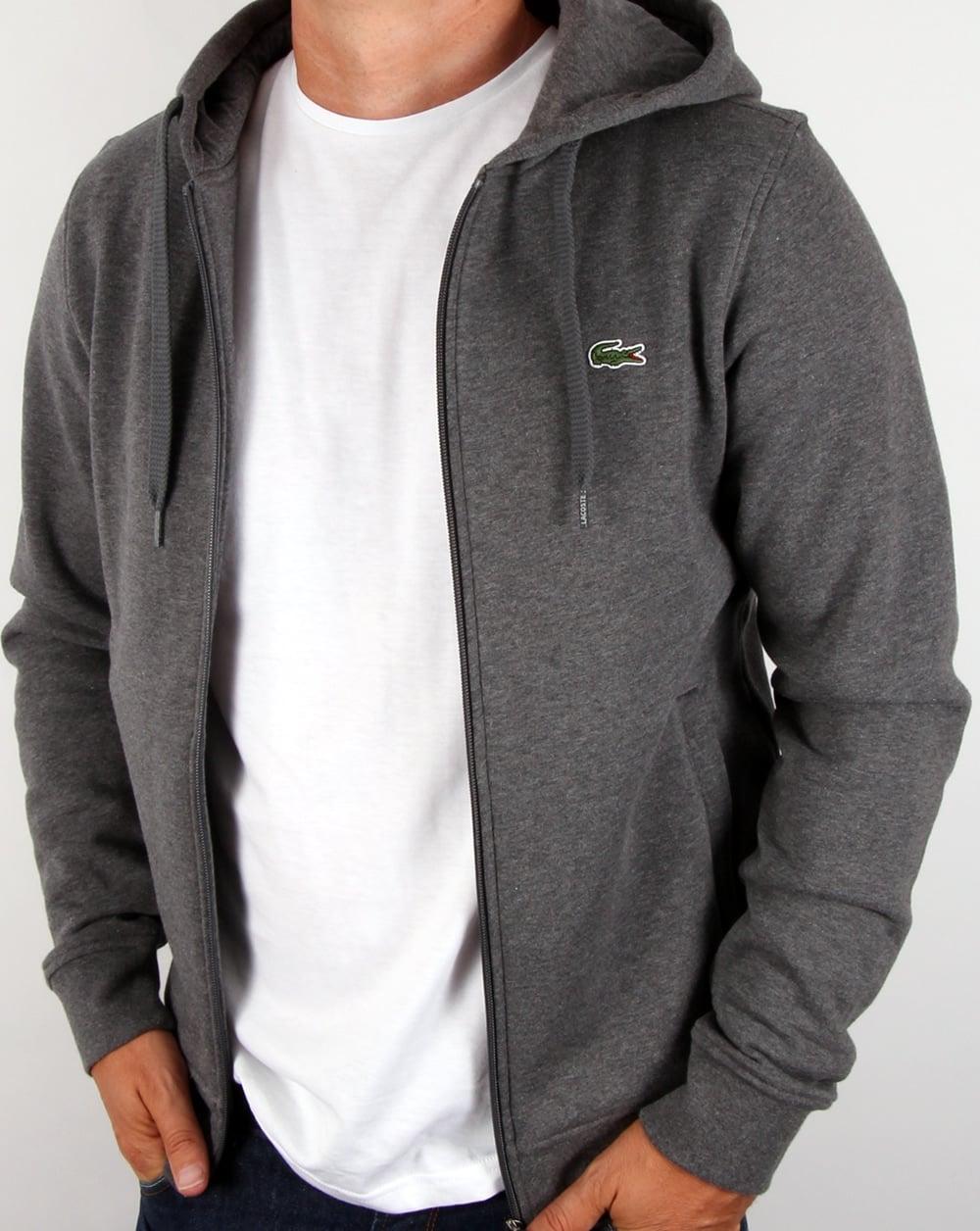 398e81370fd31d Lacoste Hooded Full Zip Sweatshirt Dark Grey