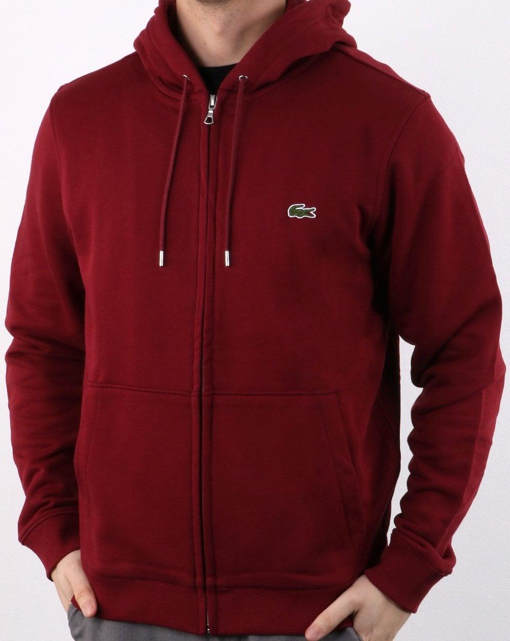 4248dad6 Lacoste Hooded Full Zip Sweatshirt Deep Red