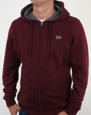 Lacoste Hooded Full Zip Sweatshirt Grape Vine Chine
