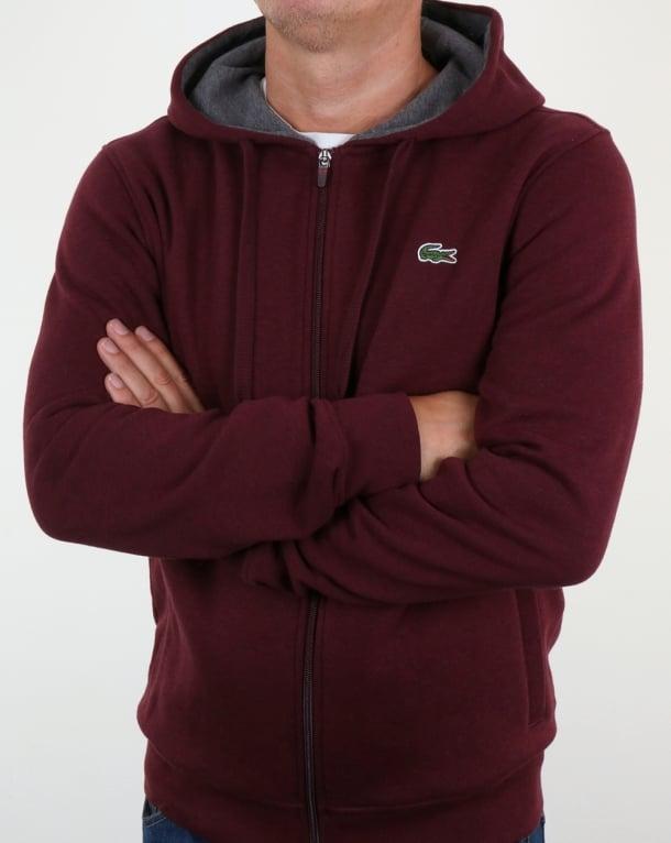 Lacoste Hooded Full Zip Sweatshirt Grape Vine Chine