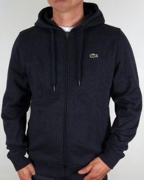 Lacoste Hooded Full Zip Sweatshirt Navy Marl