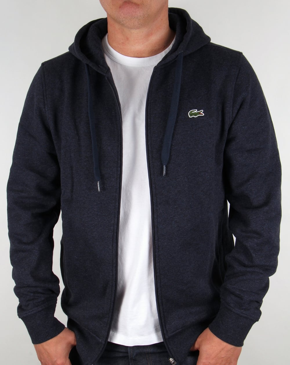 959f3b2370ea Lacoste Hooded Full Zip Sweatshirt Navy Marl