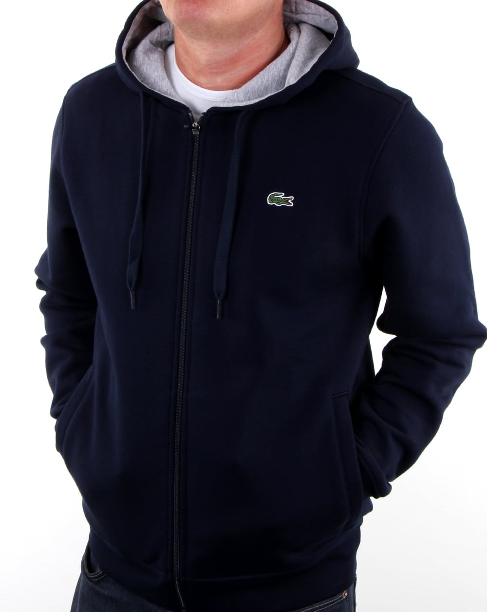 Lacoste Mens Long Sleeve Fleece with Full Zip and Pockets Sweatshirt