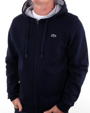 Lacoste Hooded Full Zip Sweatshirt Navy/silver Chine